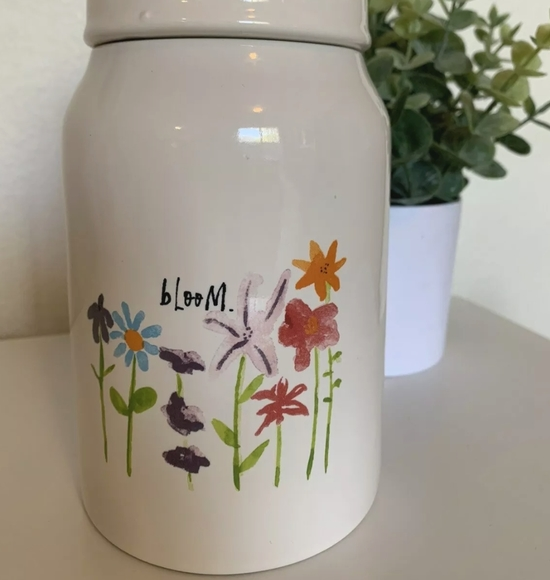 """RAE DUNN by Magenta artisan collection wildflower """"bloom"""" jar with lid"""